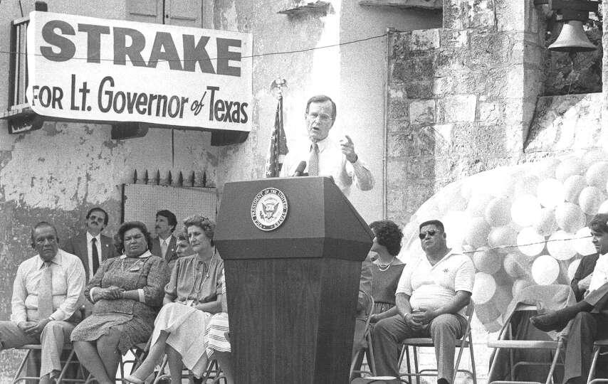 Vice President George H.W. Bush speaks at a San Antonio rally endorsing George Strake Jr. for lieute