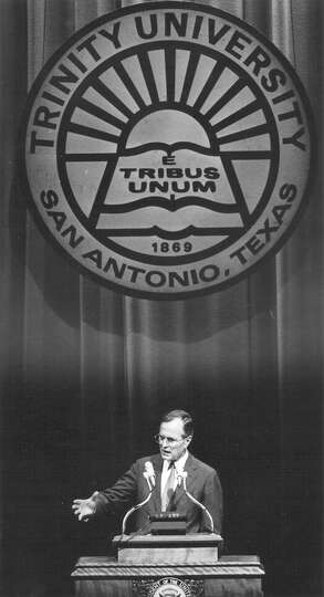 Vice President George H.W. Bush speaks at Trinity University during an October 1982 visit to San Ant