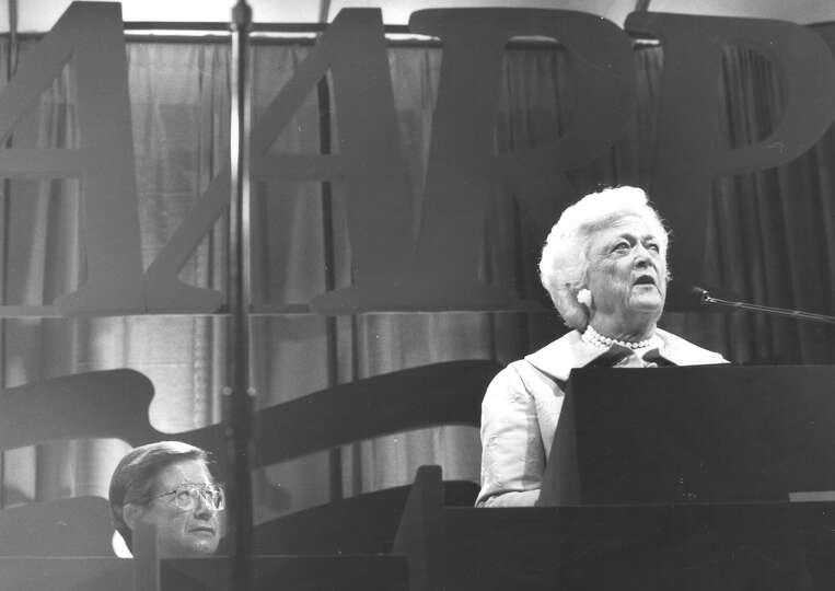 First Lady Barbara Bush speaks to AARP members at their convention in San Antonio on June 2, 1992.