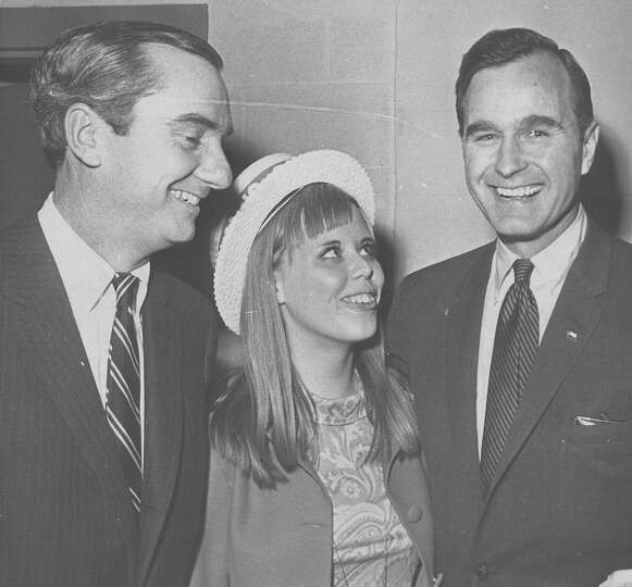 U.S. Rep. George H.W. Bush speaks to Young Republicans members Peter O'Donnell and Teri K. McKee in