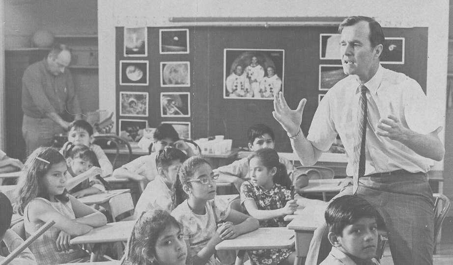 U.S. Senate hopeful George H.W. Bush speaks to students in a San Antonio classroom in this undated f