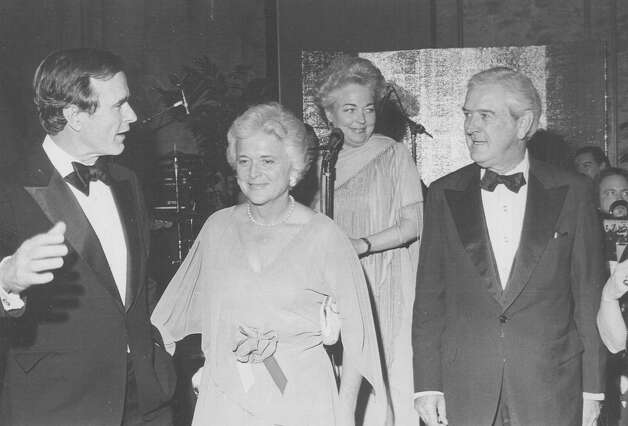 George H.W. and Barbara Bush talk with Travis County Commissioner Ann Richards and former Texas Gov. John Connally in 1979. Photo: San Antonio Express-News File Photo