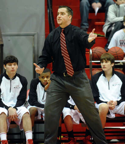 Fairfield Warde Head Coach Ryan Swaller, during semifinal action of the Fairfield Prep Holiday Classic basketball tournament in Alumni Hall at Fairfield University in Fairfield, Conn. on Wednesday December 26, 2012. Photo: Christian Abraham / Connecticut Post
