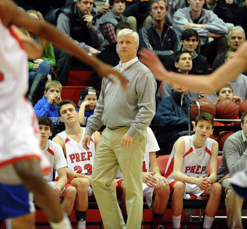 Fairfield Prep Head Coach Leo Redgate, during Fairfield Prep Holiday Classic basketball tournament semi final action against Fairfield Ludlowe in Alumni Hall at Fairfield University in Fairfield, Conn. on Wednesday December 26, 2012. Photo: Christian Abraham / Connecticut Post