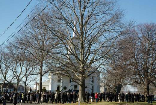 Mike Ross Connecticut Post freelance -Nearly 300 plus listen to funeral services outside of Lordship Community Church on December 19, 2012 for Victoria Soto, the first-grade teacher at Sandy Hook Elementary School who was shot and killed while protecting her students. Photo: Mike Ross / connecticut post
