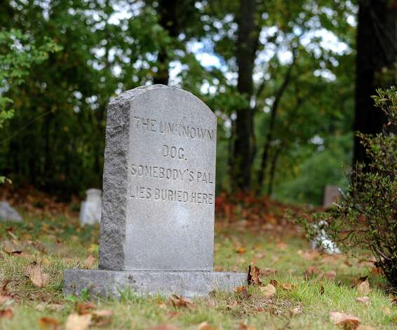 A headstone marks the grave of an unknown dog on the grounds of the Humane Society for Greater Nashua, N.H. Society officials said that a dog that died on nearby roads was picked up by a dog lover who paid for a respectable burial. Photo: Billy Calzada, San Antonio Express-News / © San Antonio Express-News