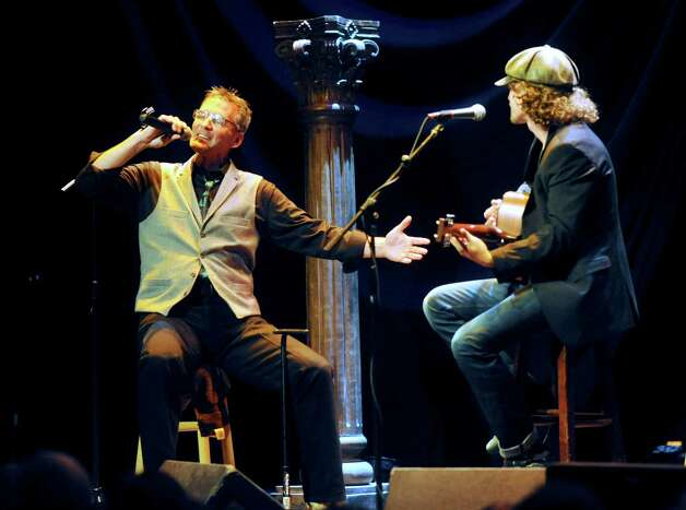 "Charlie Hewitt, left, who has cancer of the liver, performs ""Sittin' on the Dock of the Bay"" with Michael Grimm at the One World Theater in Austin on Wednesday, Oct. 17, 2012. The performance was a dream come true for Hewitt, who is hoping to make the most of his life because the future is uncertain. Photo: Billy Calzada, San Antonio Express-News / © 2012 San Antonio Express-News"