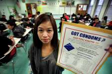 Karen Reyes, a 9th grade Health Class teacher at South Gate High School in Los Angeles, is on a list as a staff member who can distribute condoms through the Condom Distribution Program in California. Friday, Jan. 20, 2012.