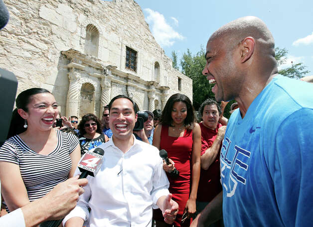 Charles Barkley (right) jokes with Mayor Julian Castro and his wife Erica Lira Castro at the Alamo Monday May 28, 2012. Photo: Edward A. Ornelas, San Antonio Express-News / © 2012 San Antonio Express-News
