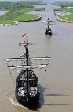 Replicas of Columbus' ships the Pinta (left front) the Niña pass through the Colorado River Locks to dock at Matagorda Harbor Thursday April 5, 2012 in Matagorda, Tx. The ships, part of The Columbus Foundation, will be open for walk aboard self guided tours Friday April 6th through Sunday April 15 from 9:00 a.m.  to  6:00 p.m. everyday. Admission charges are $8.00 for adults, $7.00 for seniors, and $6.00 for students 5-16. Children 4 and under are free.  For more information visit www.thenina.com. Photo: EDWARD A. ORNELAS, San Antonio Express-News / © SAN ANTONIO EXPRESS-NEWS (NFS)