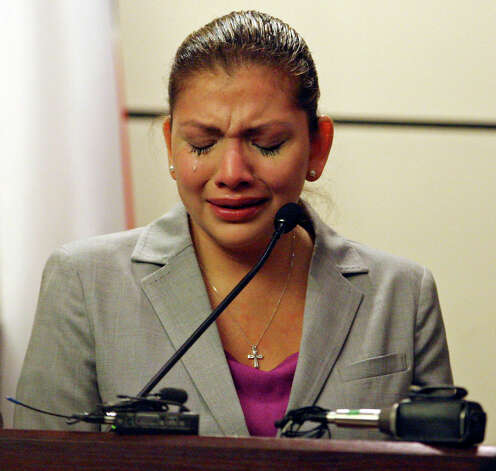 Jenny Ann Ybarra cries while on the witness stand in the 437th District Court at the Cadena Reeves Justice Center Friday Feb. 10, 2012. Ybarra is on trial for the intoxication manslaughter of Erica Nicole Smith in December 2007. Photo: EDWARD A. ORNELAS, San Antonio Express-News / © SAN ANTONIO EXPRESS-NEWS (NFS)