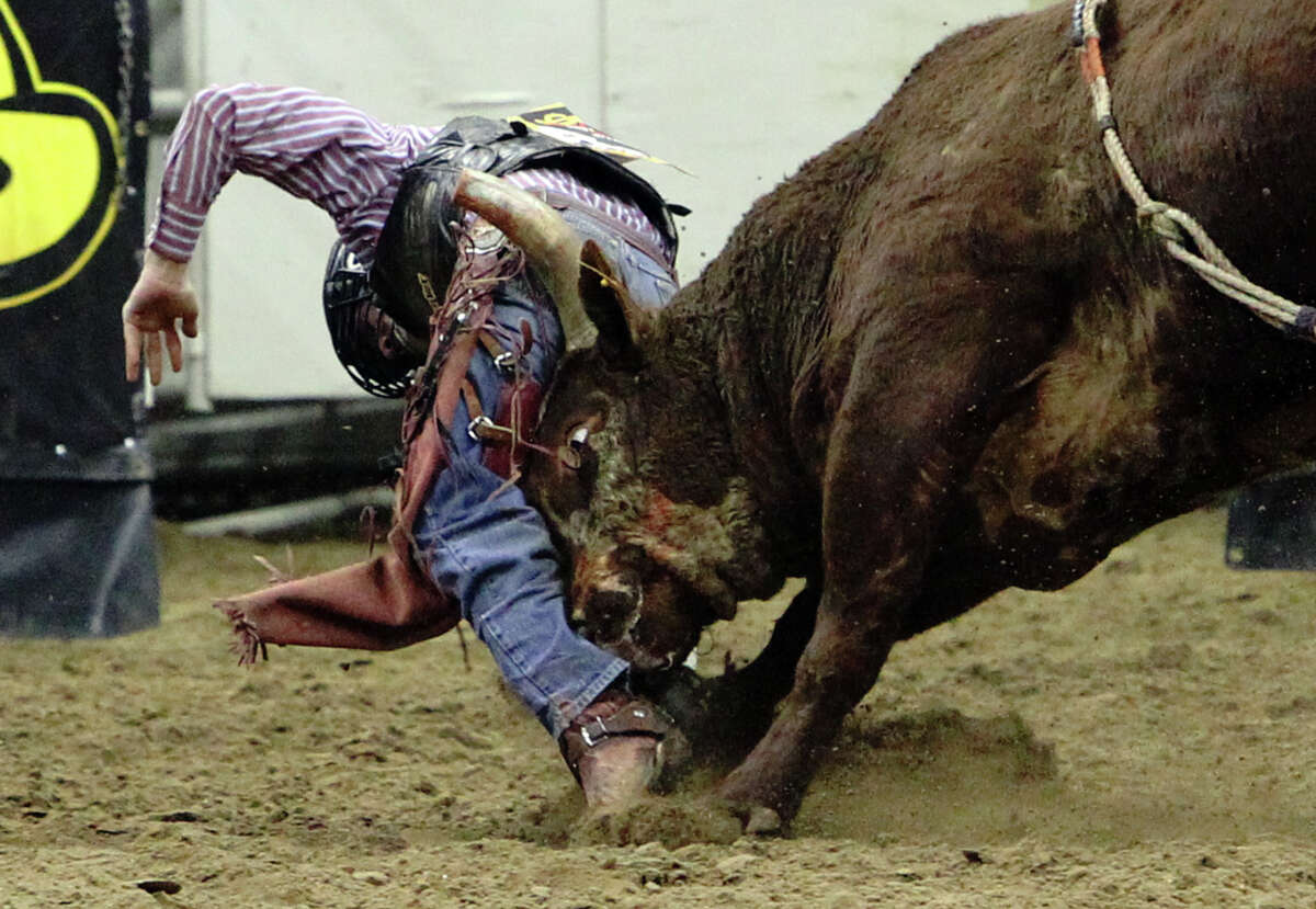 Tag Elliott gets headbutted by a bull named Captain Call during the bull riding competition at the 2012 San Antonio Stock Show & Rodeo on Saturday, Feb. 11, 2012. Click to browse all of the EN's most memorable photos of 2012