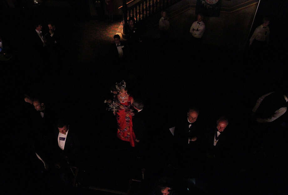 Sarah Elizabeth Butt, Duchess of Exalted Legacy, awaits her turn to take the stage at the 2012 Coronation of the Order of the Alamo at the Majestic Theater on Wednesday, Apr. 25, 2012. Photo: Kin Man Hui, San Antonio Express-News / ©2012 San Antonio Express-News