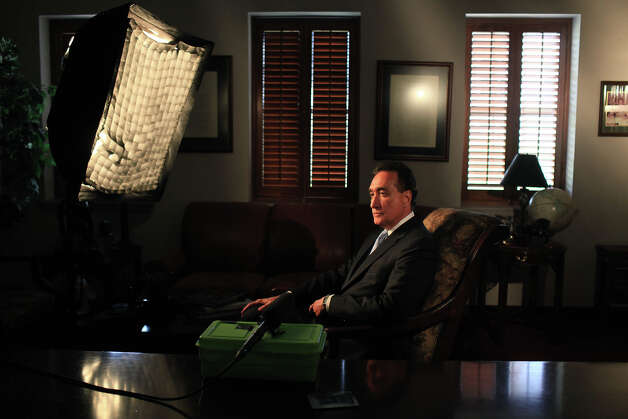 Henry Cisneros waits to be interviewed by Ray Santisteban, Director/Producer of Nantes Media, for a video honoring a local resident who will be receiving an award, on Wednesday, June 6, 2012. Photo: Lisa Krantz, San Antonio Express-News / 2012 San Antonio Express-News