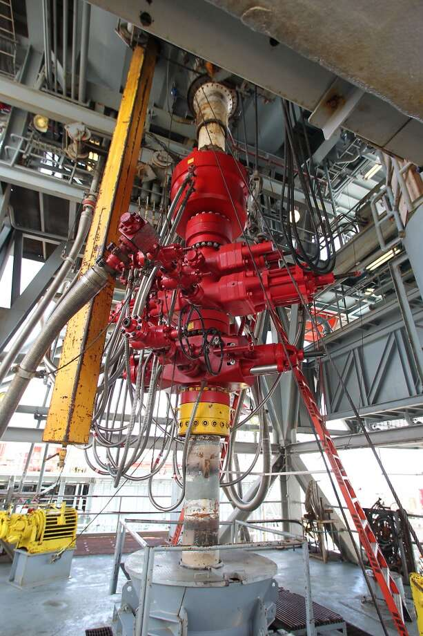 A blowout preventer on the Shell Ursa TLP (tension leg platform) located in the Mississippi Canyon block 809 in Gulf of Mexico Wednesday, Oct. 17, 2012, in New Orleans. The hull is comprised of four circular steel columns, 85 feet in diameter, 177 feet high, and a ring pontoon 38 feet wide and 29 feet high, with a rectangular cross section. ( James Nielsen / Chronicle ) (Chronicle)