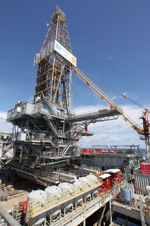 The drilling derrick on the Shell Ursa TLP (tension leg platform) located in the Mississippi Canyon block 809 in Gulf of Mexico Wednesday, Oct. 17, 2012, in New Orleans. ( James Nielsen / Chronicle ) (Chronicle)