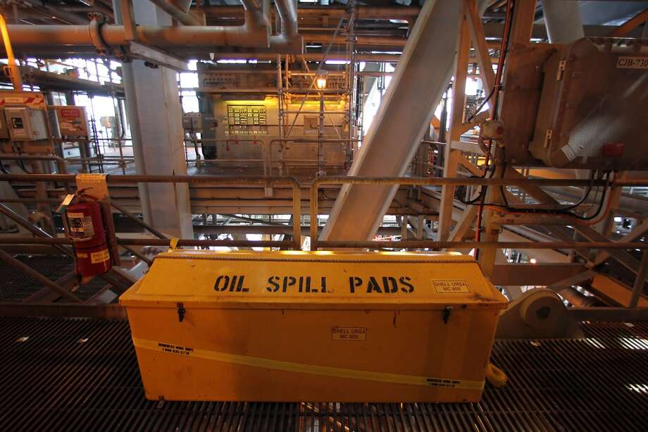 A box with oil spill pads on the Shell Ursa TLP (tension leg platform) located in the Mississippi Canyon block 809 in Gulf of Mexico Wednesday, Oct. 17, 2012, in New Orleans. ( James Nielsen / Chronicle ) (Chronicle)