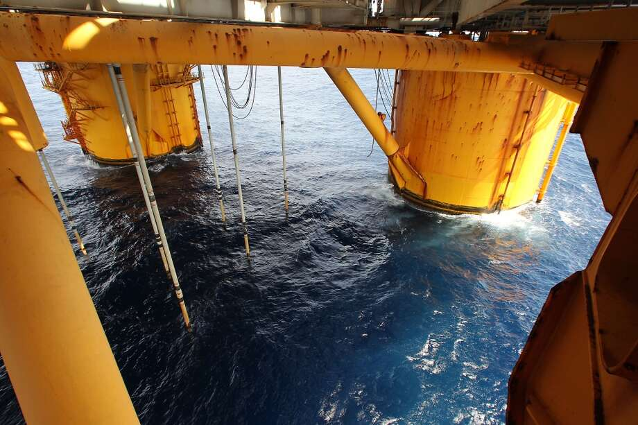 Two of four circular steel columns which are 85 feet in diameter, 177 feet high, on the Shell Ursa TLP (tension leg platform) located in the Mississippi Canyon block 809 in Gulf of Mexico Wednesday, Oct. 17, 2012, in New Orleans. ( James Nielsen / Chronicle ) (Chronicle)