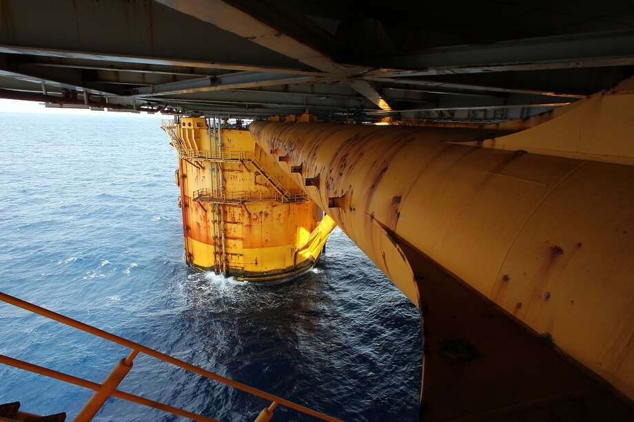One of four circular steel columns which are 85 feet in diameter, 177 feet high, on the Shell Ursa TLP (tension leg platform) located in the Mississippi Canyon block 809 in Gulf of Mexico Wednesday, Oct. 17, 2012, in New Orleans. ( James Nielsen / Chronicle ) (Chronicle)