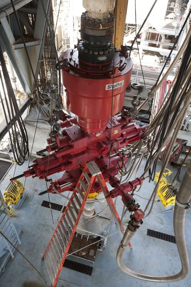 A blowout preventer on the Shell Ursa TLP (tension leg platform) located in the Mississippi Canyon block 809 in Gulf of Mexico Wednesday, Oct. 17, 2012, in New Orleans. The hull is comprised of four circular steel columns, 85 feet in diameter, 177 feet high, and a ring pontoon 38 feet wide and 29 feet high, with a rectangular cross section.( James Nielsen / Chronicle ) (Chronicle)