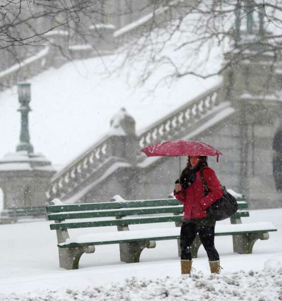 A woman uses an umbrella to protect her from the snow near the State Capitol building in Albany, N.Y