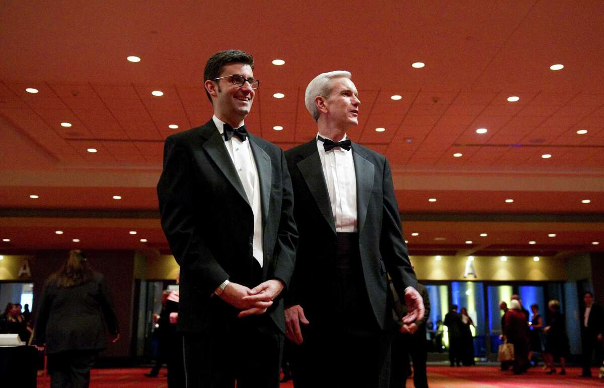 Andrew J. McDonald, right, a former state senator from Stamford has been nominated to the Connecticut Supreme Court by Gov. Dannel P. Malloy If confirmed, the 46-year-old McDonald would would be one of the few gays nationally to be named to their state high courts. He is married to Charles Gray, pictured left, of Stamford.