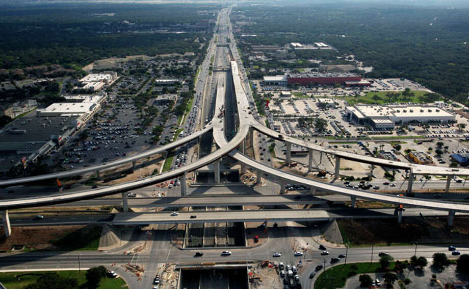 The still-under-construction U.S. 281 and Loop 1604 interchange on the northside is seen in this Oct. 25, 2012 aerial photo looking south towards downtown. Photo: William Luther / © 2012 San Antonio Express-News