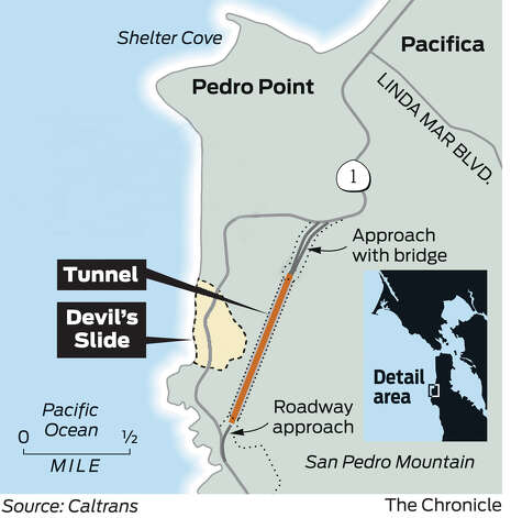 The new tunnel will replace the section of Highway 1 that runs through Devil's Slide. Photo: John Blanchard, The Chronicle