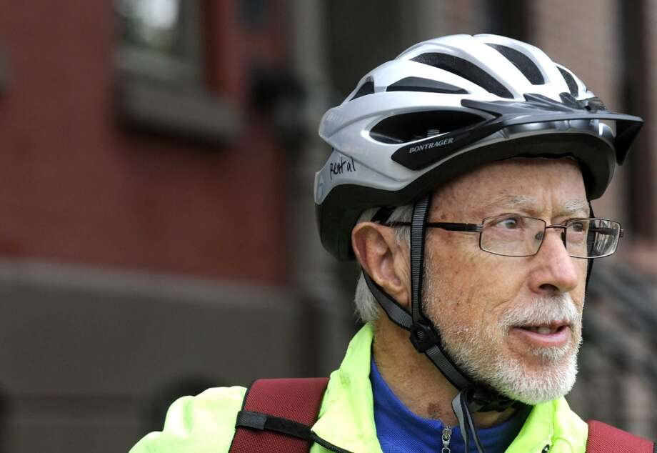 Nobel Prize-winning South African novelist J.M. Coetzee, a cycling enthusiast, in Albany, NY Friday Oct. 12, 2012. (Michael P. Farrell/Times Union) (Albany Times Union)