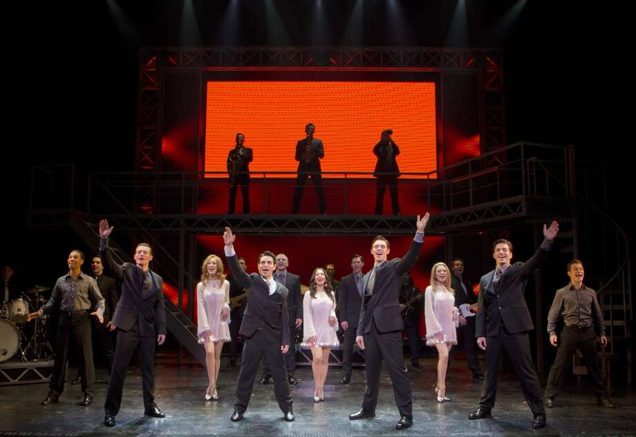 Colby Foytik, Brad Weinstock, Jason Kappus, Brandon Andrus and the Company of JERSEY BOYS Photo: Joan Marcus