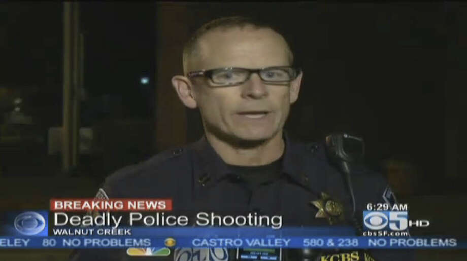 Walnut Creek police captain Tim Schultz speaks with the media after Walnut Creek police officers shot and killed a suspect during a confrontation Thursday morning. Photo: CBS San Francisco