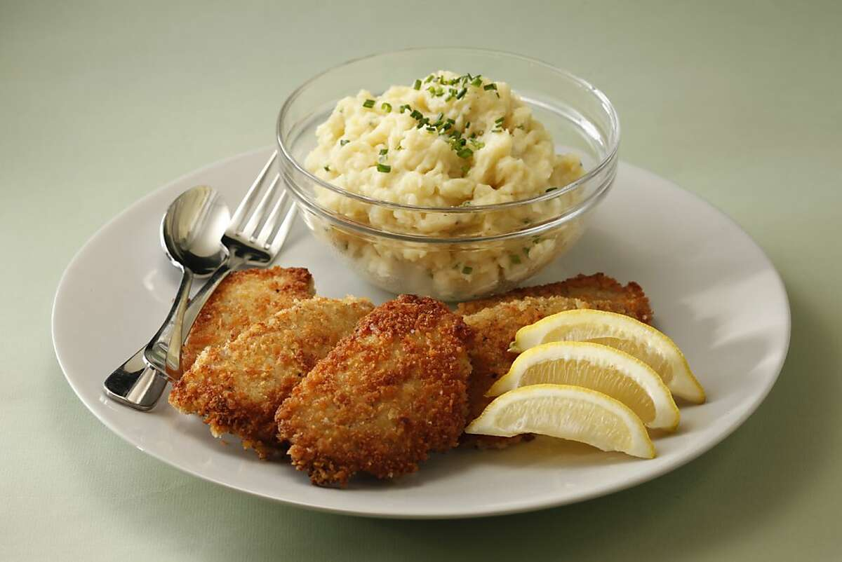 Panko-Crusted Pork Scaloppine With Mustard Smashed Potatoes. Styling by Amanda Gold.