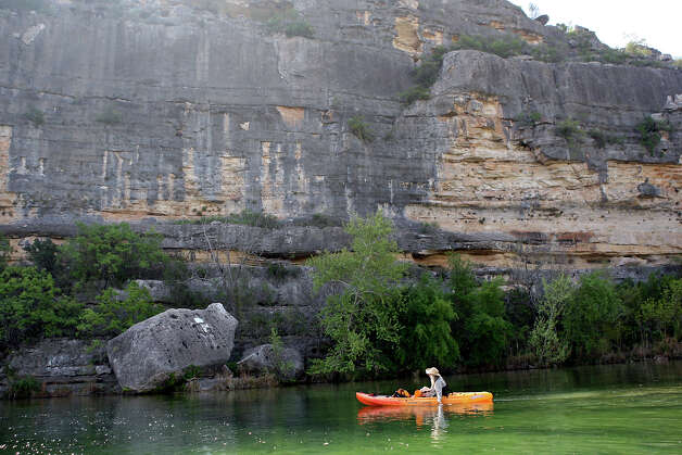 Tammy Watson kayaks on the Devils River Saturday March 24, 2012 near Vinegaroon, Tx. Click to browse all of the EN's most memorable photos of 2012  Photo: EDWARD A. ORNELAS, SAN ANTONIO EXPRESS-NEWS / © SAN ANTONIO EXPRESS-NEWS (NFS)