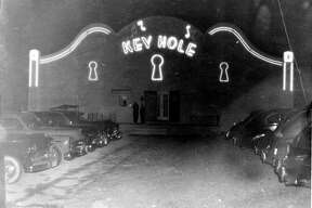 Exterior of Keyhole Club, 1619 W. Poplar, San Antonio, Texas, ca. 1950. Photograph shows evening view of the Don Albert's nightclub. Neon lights on facade.  copied from the original owned by Kenneth Dominique, son of Don Albert. Source: UTSA Libraries Special Collections