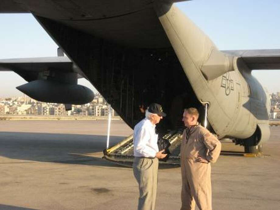 Rep. Hall in Iraq about to board a C-130.