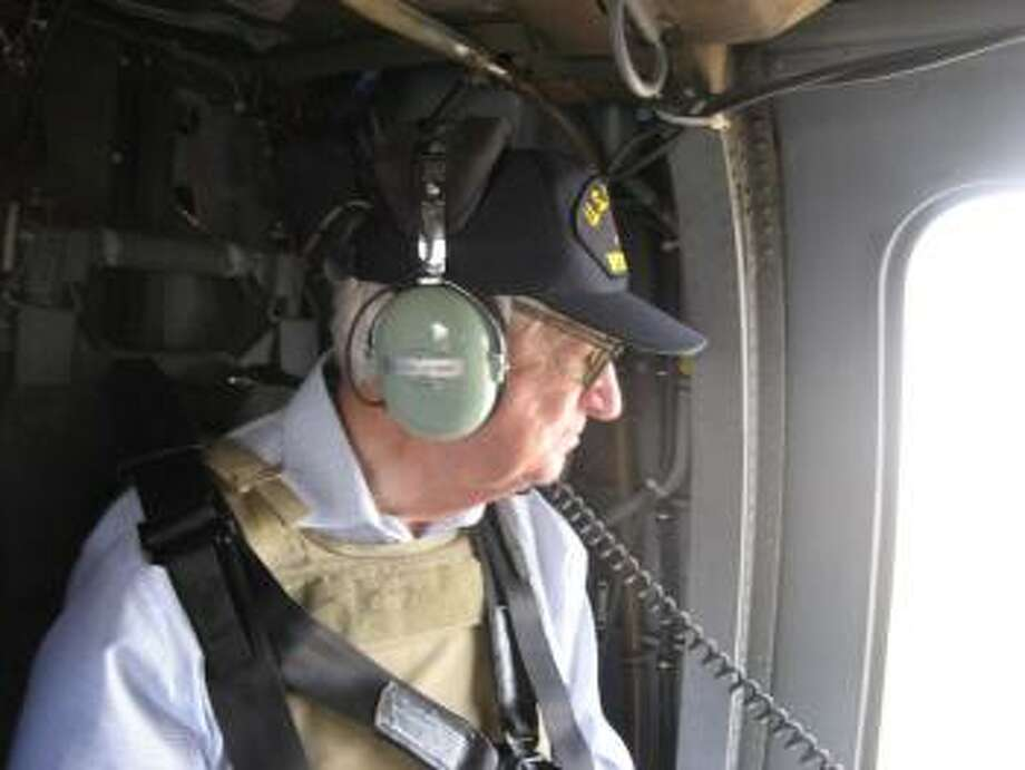 Rep. Hall in a Blackhawk Helicopter.