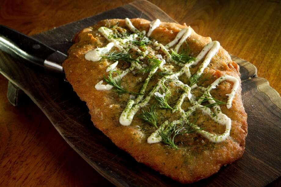 Bar Tartine, 3 stars: Langos -- Potato flat bread with garlic cream ($12)