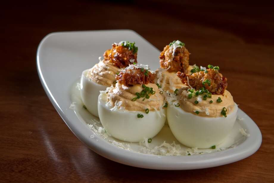 Dixie, 2 stars: Deviled eggs with chicken livers and horseradish ($7)