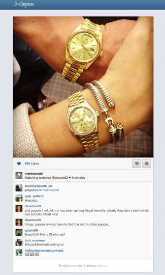 This frame grab of an Instagram page shows the Rolex watch Johnny Manziel and his sister received