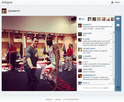 This frame grab of an Instagram page shows Johnny Manziel with the Houston Rockets' James Harden. / FRAME GRAB FROM INSTAGRAM