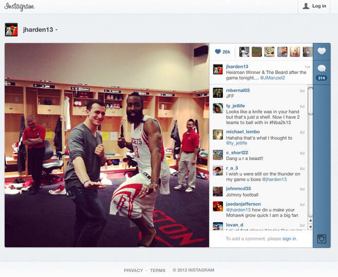 This frame grab of an Instagram page shows Johnny Manziel with the Houston Rockets' James Harden.