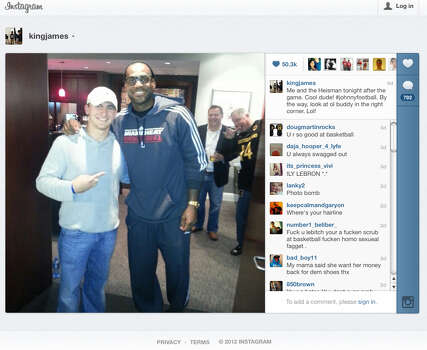 This frame grab of an Instagram page shows Johnny Manziel with LeBron James during one of his post-Heisman publicity tour events. / FRAME GRAB FROM INSTAGRAM