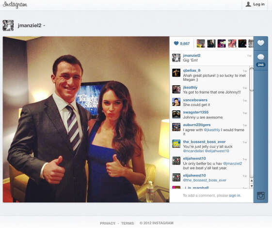 This frame grab of an Instagram page shows Johnny Manziel with movie star Megan Fox during one of his post-Heisman publicity tour. / FRAME GRAB FROM INSTAGRAM