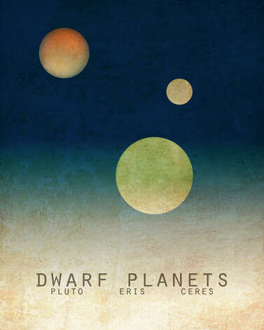 This undated image provided by Megan Lee Studio shows a print of the dwarf planets, Pluto, Eris and Ceres by artist, Megan Lee, available at www.etsy.com/shop/meganlee. (AP Photo/Megan Lee Studio)