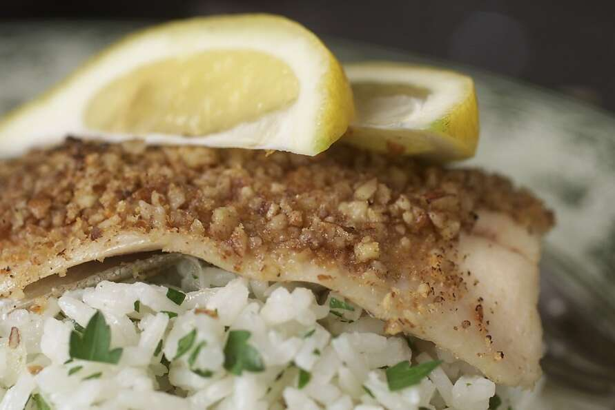 Pecan-Crusted Trout With Parsley Rice Pilaf