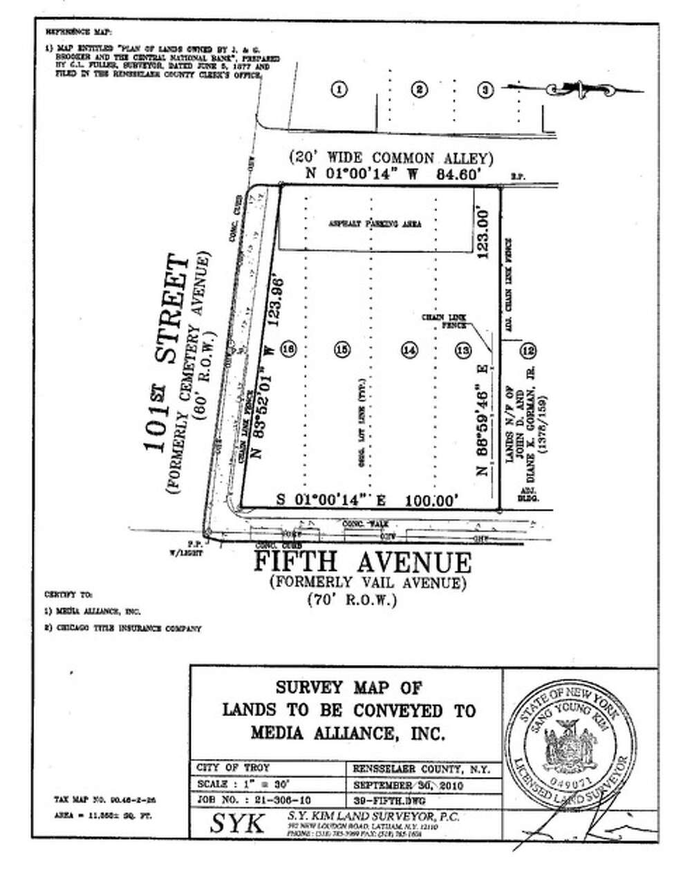 Survey map of area around Freedom Square, Troy. (Image provided by New York Media Alliance)