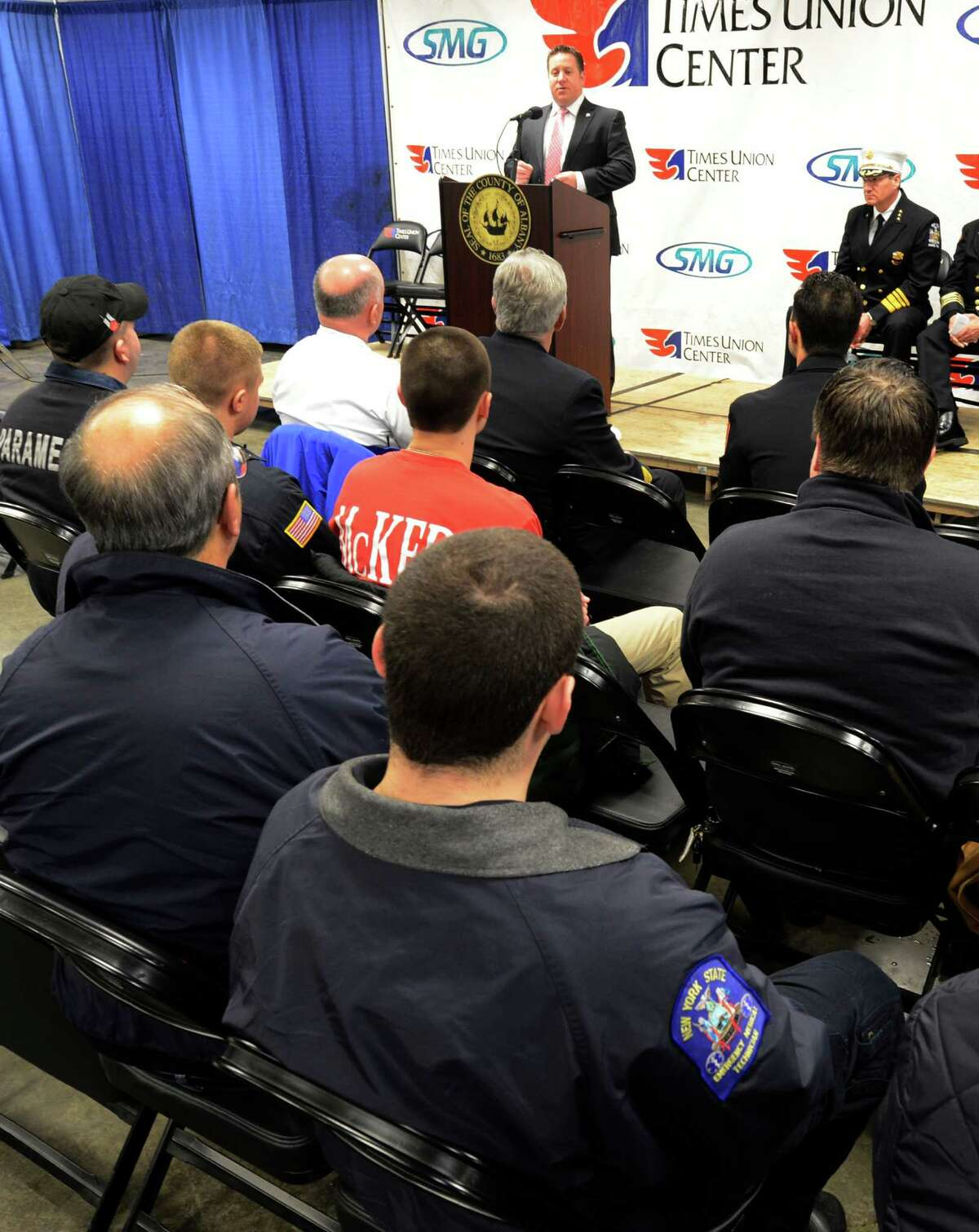 Albany County Executive Dan McCoy acknowledges the work done by Albany County firefighters that volunteers to work on Long Island during the Super Storm Sandy First Responder Recognition Program held at the Times Union Center in Albany, N.Y. Dec 27, 2012. (Skip Dickstein/Times Union)