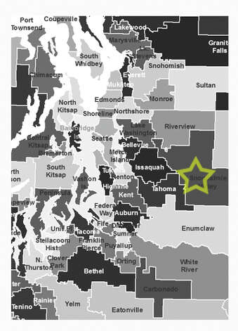 8. Snoqualmie Valley School District: 6.4 percent of school-age children in the district live in poverty. Photo: Data From Census Bureau, Maps From Office Of Superintendent Of Public Instruction