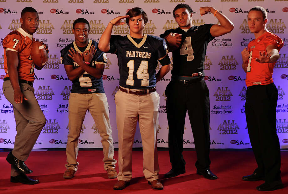 Portrait of Madison's Marquis Warford, (from left) O'Connor's Tre Johnson, O'Connor's Zach Galindo, Steele's Justin Stockton and Brandeis' Trinton Ynclan Sunday Dec. 16, 2012. Photo: Edward A. Ornelas, Express-News / © 2012 San Antonio Express-News
