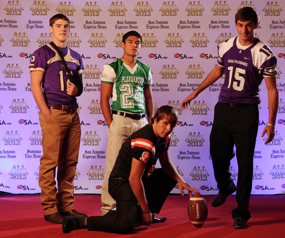 Portrait of D'Hanis' Chance Barlow, (from left) Pleasanton's Mike Sorola, Medina Valley's Zach Sinor, (front) and Boerne's Taylor Knopf Sunday Dec. 16, 2012. Photo: Edward A. Ornelas, Express-News / © 2012 San Antonio Express-News